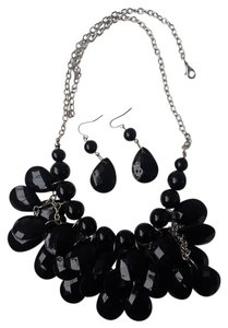 Matching black necklace and earrings