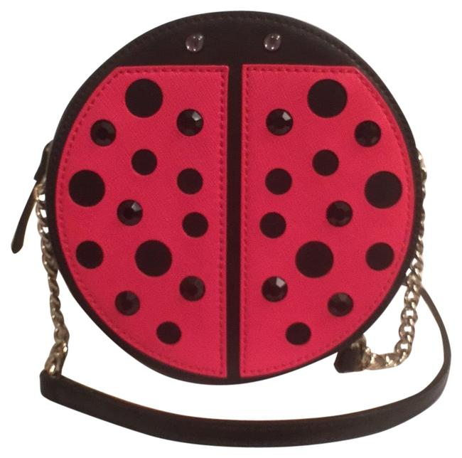 Item - New Micha Lady Bug Black Red Gold Leather Cross Body Bag
