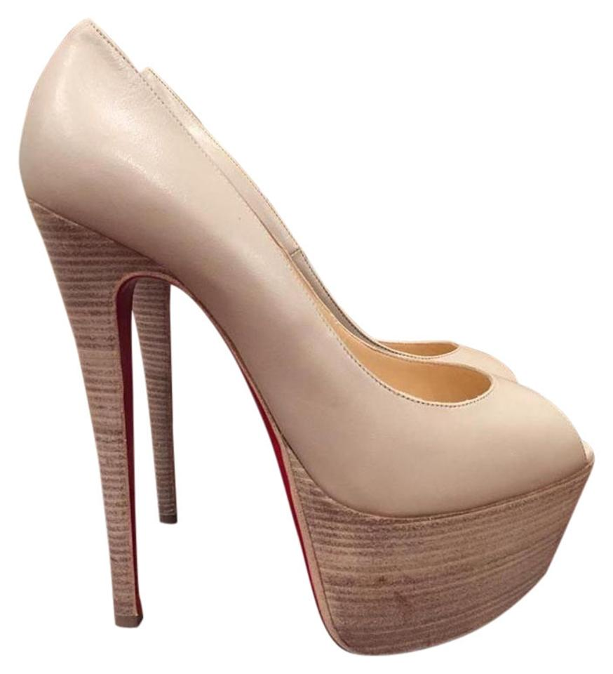 b20b2e765a3 Christian Louboutin Jamie Stiletto Platform Leather Nude beige Pumps Image  0 ...