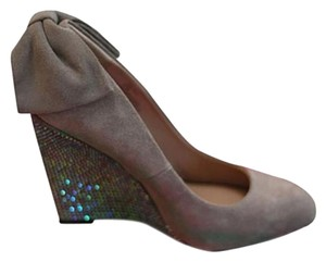 Betsey Johnson Sequin Wedge Bow High Heel Taupe Wedges