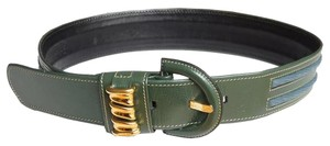Loewe Vintage LOEWE Logos Wide Waist Belt Size: 75 Green/Blue Leather
