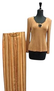 Cache Cache Brown And Orange Pant Suit W Bling Acetate Blend Sma4117