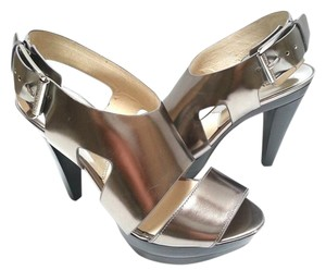 MICHAEL Michael Kors Strappy Heels Sandals Metallic Silver Pumps