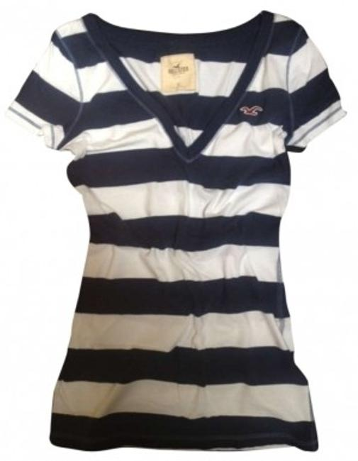 Preload https://item3.tradesy.com/images/hollister-navy-and-white-striped-v-neck-tee-shirt-size-4-s-182327-0-0.jpg?width=400&height=650