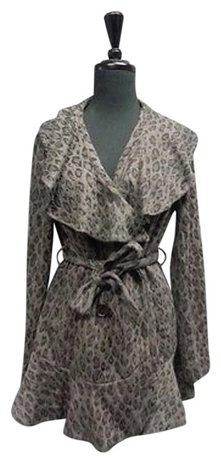 Item - Black And Gray Animal Print Belted Jacket Sma4276