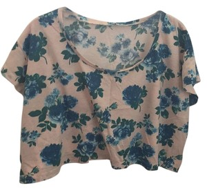 American Apparel T Shirt Blue floral