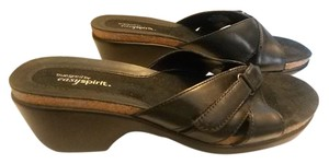 Easy Spirit Slip On Leather Lightweight Flexible Black Sandals - Up to 90% off at Tradesy