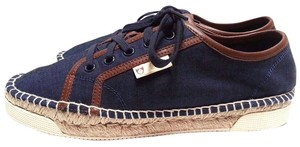 Gucci Lace-up Vamp Logo Flag At Side Espadrille Sneaker Round Toe Rubber Outsole Indigo/Brown Athletic
