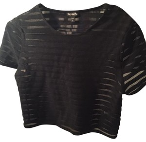 Express Mesh Stripes Crop Top Black