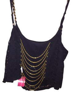 Windsor Lace Gold Tank Top Black