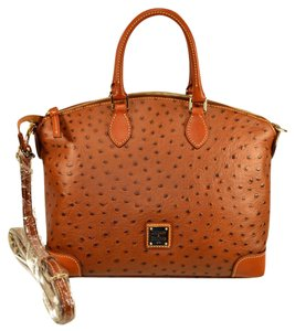 Dooney & Bourke Ostrih Emb Leather Satchel in Cognac