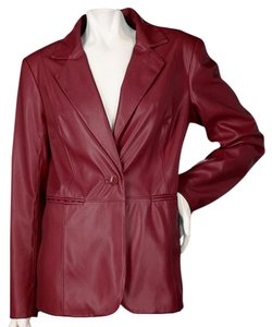Susan Graver Faux Leather Women Burgandy Blazer
