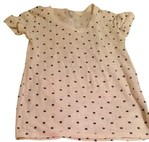 J.Crew T Shirt Cream With Navy Dots