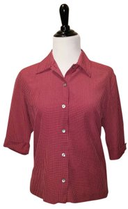 Karen Scott Work Red Multi Color Shirt Button Down Shirt Red, Blue and White