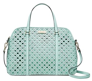 Kate Spade Leather Laser Cut Satchel in Grace Blue