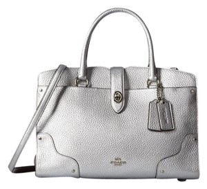 Coach Metallic 37575 Mercer Satchel in Silver