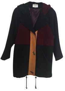 Petite Sophisticate Color Block Wool Coat