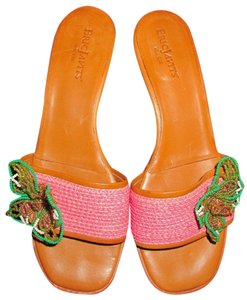 Eric Javits Pink and brown with multicolor bead decor sz 6 Mules
