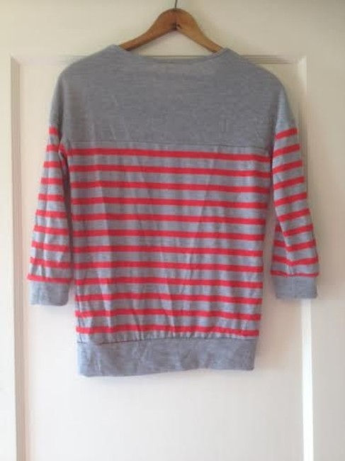 Robin K Anthropologie Top Grey with Red Stripes