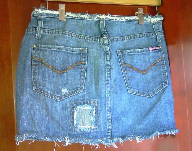 Vintage Micro Mini Micro Mini Destroyed Hem Edges All 100 Percent Girls Clothing 90s Mini Skirt Denim Blue Fringe Frayed
