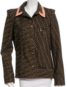 Fendi Zucca Logo Monogram Longsleeve Moto Brown, Black, Pink Jacket