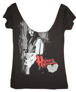 Other Johnny Depp Captain Sparrow Scoop Neck Low Cut T Shirt black