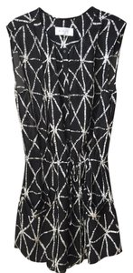 A.L.C. short dress Black & White Sleeveless Drawstring Silk on Tradesy
