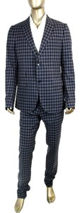 Gucci New Gucci Mens Black Blue Check Wool Suits IT 56 R/US 46 R 336717 4772