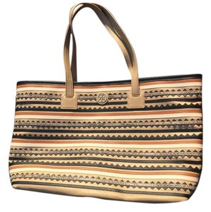 Tory Burch Leather Logo Tote in Mid Camel Multi