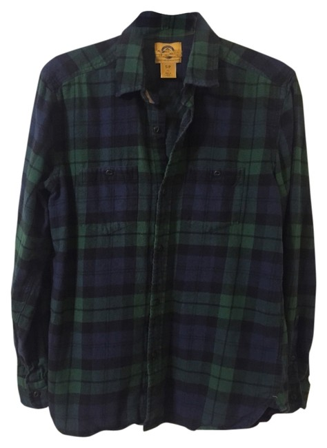 Urban Outfitters Button Down Shirt Blue & Green