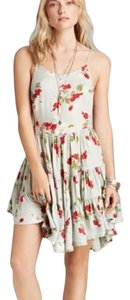 Free People short dress Light powder blue with red floral print on Tradesy