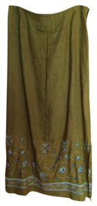 Ann Taylor Maxi Skirt Brown with design on bottom of skirt