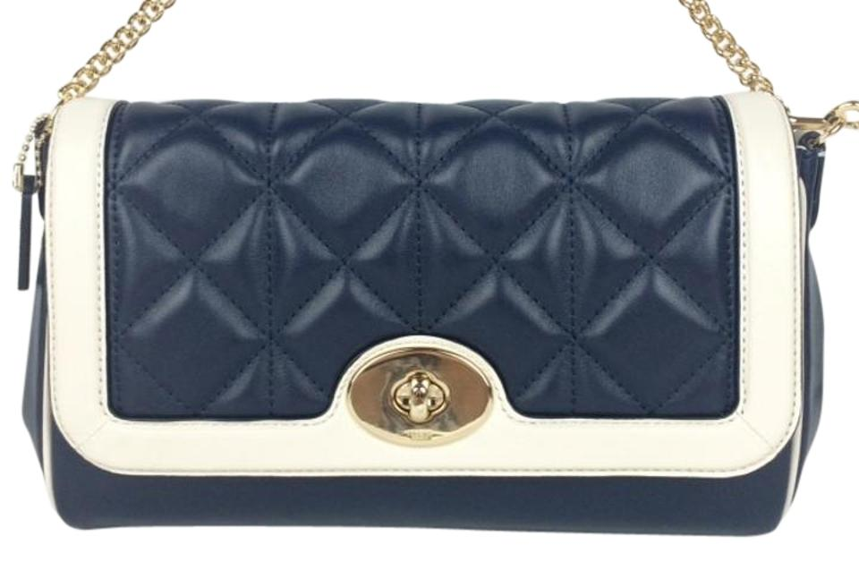 Coach Ruby F37723 Quilted Mini Midnight/Chalk Leather Shoulder Bag ... : quilted leather bags - Adamdwight.com