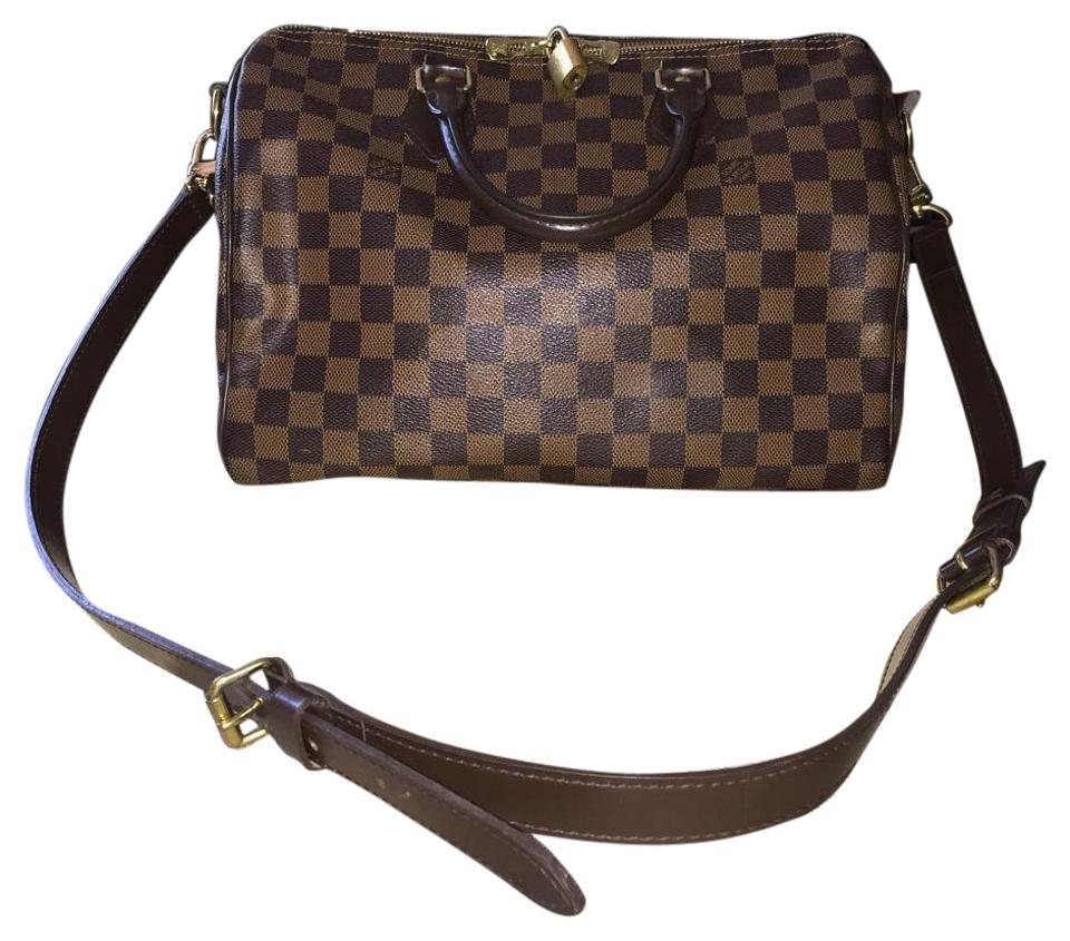 d0f0eed0a2d4 Louis Vuitton Turenne Speedy Siena 30 Bandouliere Damier Ebene Shoulder  Satchel Handbag Purse Lv Checkered Like Boston Brown Canvas Cross Body Bag