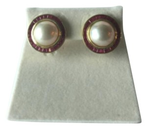 Other Mobe Pearl and Ruby Earrings