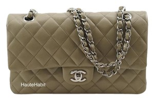 Chanel Leather Classic Flap Taupe Shoulder Bag