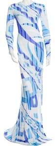 Emilio Pucci Maxi Longsleeve Monogram Dress
