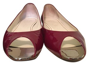 Chanel Silver Metallic Pointed Toe Red Flats