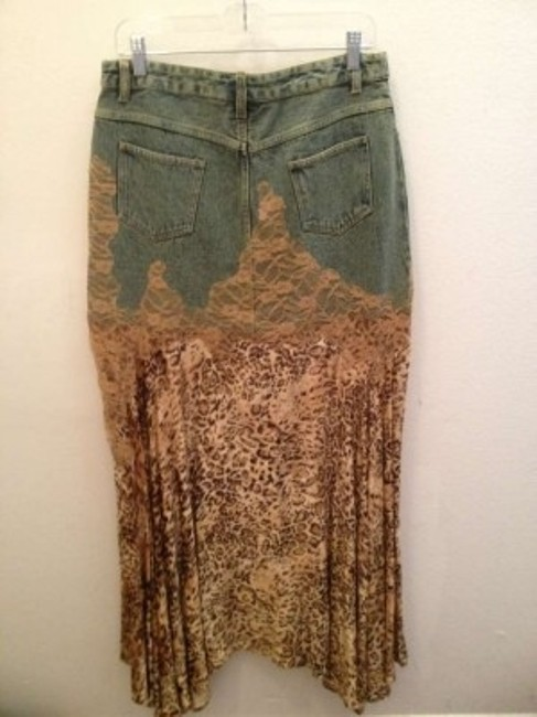 Newport News Asymmetrical Lace Trim Denim Mermaid Maxi Skirt Leopard print