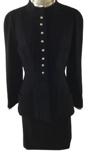 Chanel Black Wool Skirt Suit