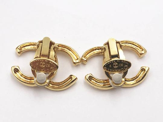 Chanel Chanel Vintage Gold Plated CC Scratchy Clip on Earrings Image 3