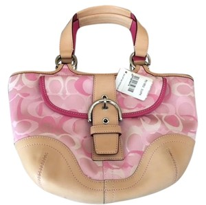 Coach Signature Leather Tote in Pink