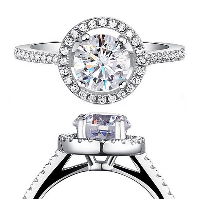 Item - 925 Silver Halo Round All Sizes 5 6 7 8 9 Engagement Ring