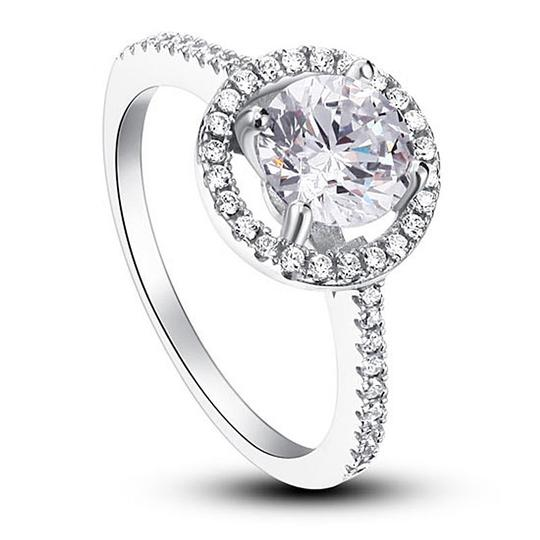 9.2.5 925 Silver Halo Round All Sizes 5 6 7 8 9 Engagement Ring Image 2
