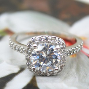 9.2.5 Proposal Band Cushion Square Small 1.4ct Eternity Single Solitaire 925 Silver Halo All Engagement Ring