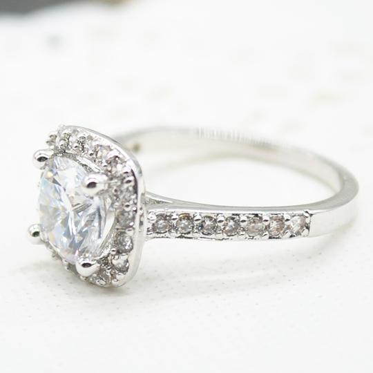 9.2.5 Proposal Band Cushion Square Small 1.4ct Eternity Single Solitaire 925 Silver Halo All Engagement Ring Image 1