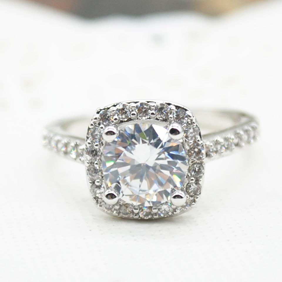 white wedding diamond set square ring accen bezel round rings gold engagement accent halo front