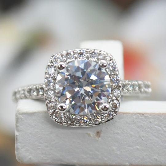 9.2.5 Proposal Band Cushion Square Small 1.4ct Eternity Single Solitaire 925 Silver Halo All Engagement Ring Image 3