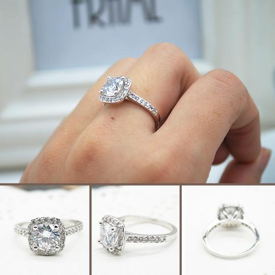 9.2.5 Proposal Band Cushion Square Small 1.4ct Eternity Single Solitaire 925 Silver Halo All Engagement Ring Image 4