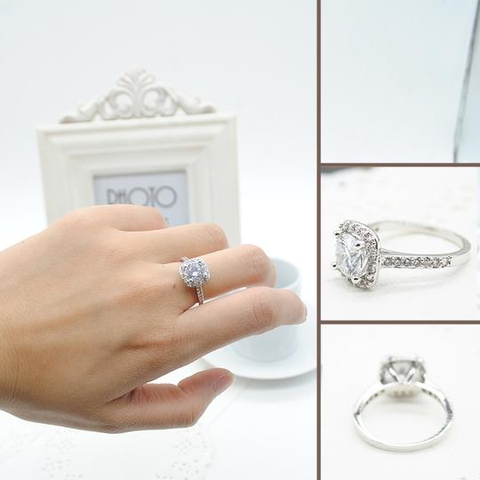 9.2.5 Proposal Band Cushion Square Small 1.4ct Eternity Single Solitaire 925 Silver Halo All Engagement Ring Image 5